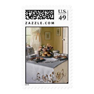 Afternoon tea setting postage stamp