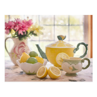 Afternoon Tea with Lemon beautiful photo postcard