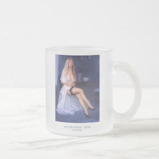 """AFTERNOON TEAS""  Pinup girl  frosted coffee mug"