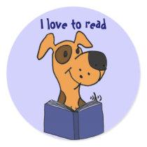 AG- I love to read dog cartoon stickers