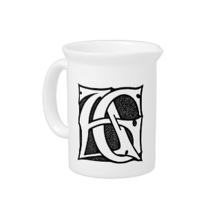 AG Monogram - Initials AG in Gothic Style Letters Beverage Pitcher
