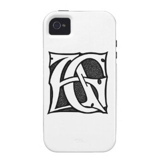 AG Monogram - Initials AG in Gothic Style Letters Vibe iPhone 4 Case