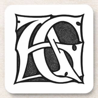 AG Monogram - Initials AG in Gothic Style Letters Drink Coasters