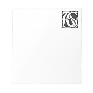 AG Monogram - Initials AG in Gothic Style Letters Memo Pad