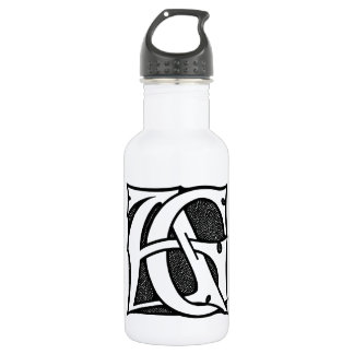 AG Monogram - Initials AG in Gothic Style Letters Water Bottle
