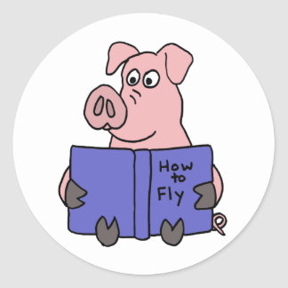 AG- Pig Reading How to Fly Book Classic Round Sticker