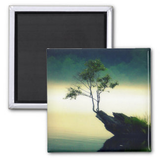 Against All Odds - Beautiful Tree Photograph 2 Inch Square Magnet