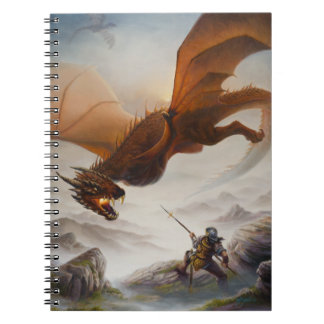 Against All Odds - dragon attacks a warrior Notebook