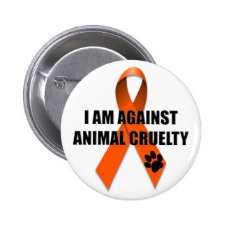 Against Animal Cruelty Orange Awareness Ribbon 2 Inch Round Button