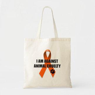 Against Animal Cruelty Orange Awareness Ribbon Tote Bag