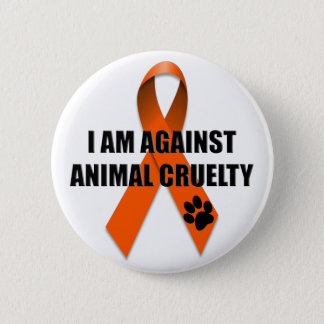 Against Animal Cruelty Orange Awareness Ribbon Button