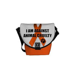 Against Animal Cruelty Orange Awareness Ribbon Courier Bag