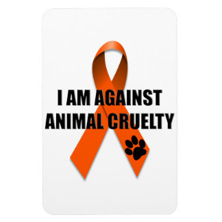 Against Animal Cruelty Orange Awareness Ribbon Rectangle Magnets
