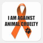 Against Animal Cruelty Orange Awareness Ribbon Square Sticker