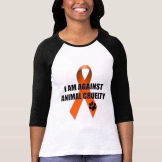 Against Animal Cruelty Orange Awareness Ribbon Tee Shirt