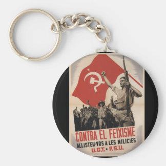 Against fascis enlist militias_Propaganda Poster Keychain