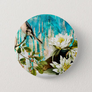 AGAINST THE BLUE PATIO WALL PINBACK BUTTON