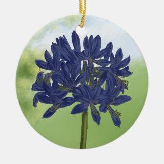 Agapanthus azul de la lila en el jardín ornamentos de navidad