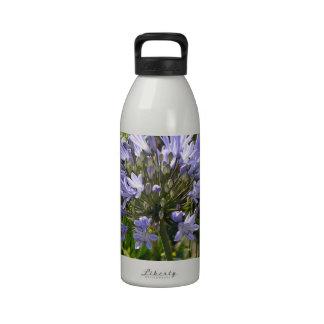 Agapanthus azul que florece en un día soleado botella de agua
