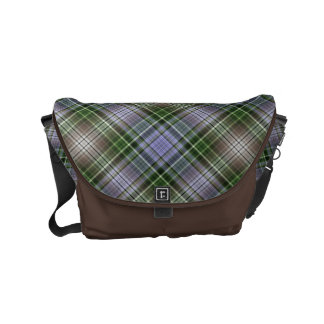 Agapanthus blue and green plaid small messenger bag
