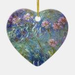 Agapanthus de Claude Monet Adorno Navideño De Cerámica En Forma De Corazón