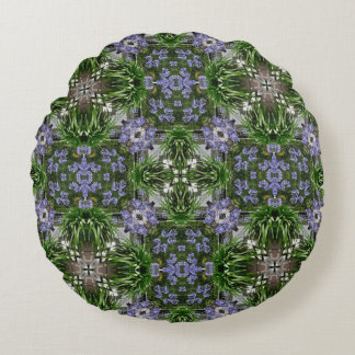 Agapanthus pattern in blue and green round pillow