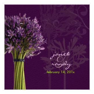 Agapanthus plum+green felt stock custom invite