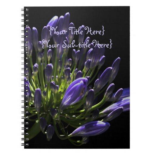 Agapanthus púrpura floreciente Sunlit, lirio Libreta