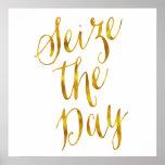 Agarre diseño metálico de la hoja de oro de la póster
