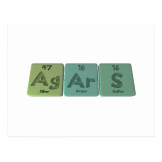 Agars-Ag-Ar-S-Silver-Argon-Sulfur Postcard