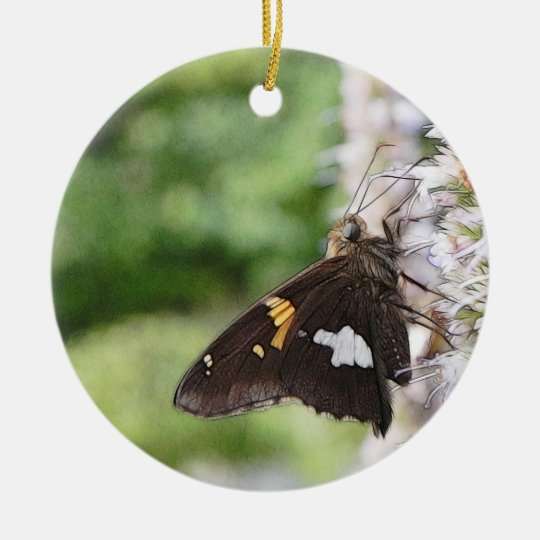 Agastache And Skipper Butterfly Ceramic Ornament
