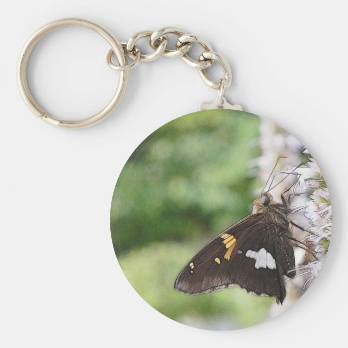Agastache And Skipper Butterfly Keychain