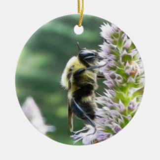 Agastache Flowers With Bumblebee Christmas Ornaments