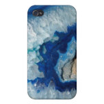 Ágata azul Geode del zafiro iPhone 4 Funda