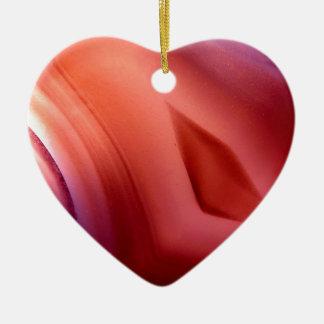 Ágata de la piedra adorno navideño de cerámica en forma de corazón