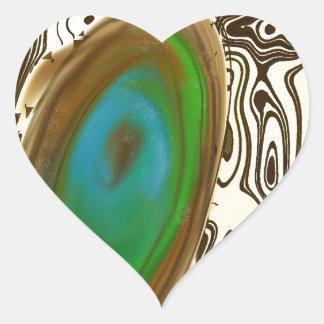 Ágata del arte abstracto el Brown Pegatina Corazón Personalizadas