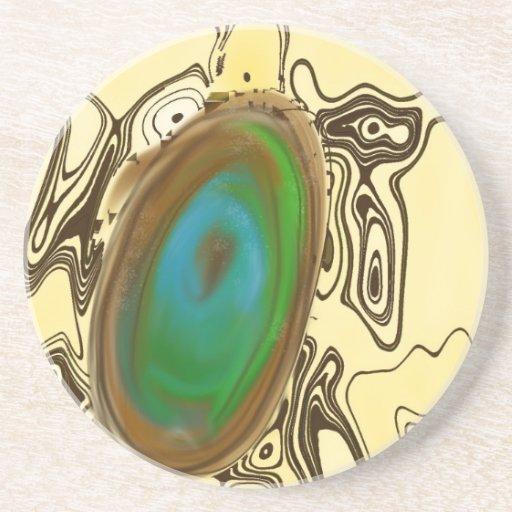 Ágata del arte abstracto el   Brown Posavasos Personalizados