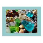 Ágatas azules del vidrio del mar verde de las post tarjeta postal