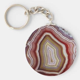 Agate Basic Round Button Keychain