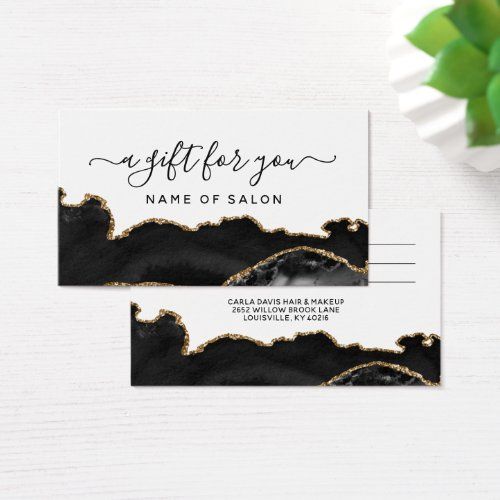 Agate Black And Gold Marble Salon Gift Card