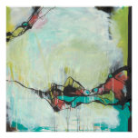 Agate - blue, green, abstract expressionism art poster