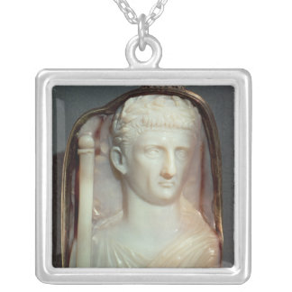 Agate Cameo bearing the portrait of Claudius Silver Plated Necklace