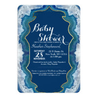 Agate Elegant Pretty Blue Teal Geode Pattern Card