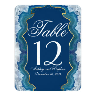 Agate Elegant Pretty Blue Teal Geode Pattern Card