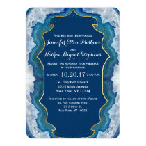 Agate Elegant Pretty Blue Teal Geode Pattern Invitation