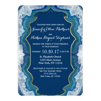 Agate Elegant Pretty Blue Teal Geode Pattern Invitation