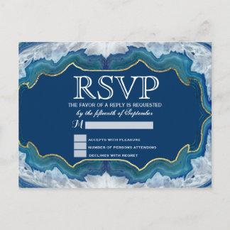Agate Elegant Pretty Blue Teal Geode Pattern Invitation Postcard