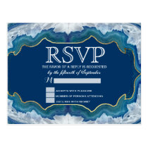 Agate Elegant Pretty Blue Teal Geode Pattern Postcard