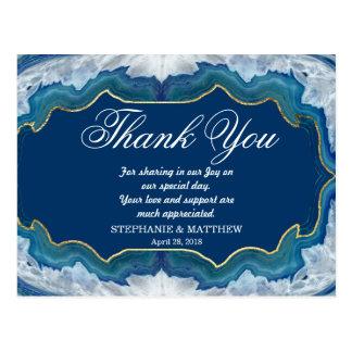 Agate Elegant Pretty Blue Teal Geode Pattern Postcard