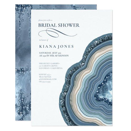 Agate Geode Glitter Bridal Shower Dusty Blue ID647 Invitation